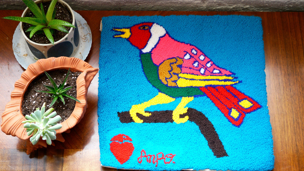 Vintage 1980s Handwoven Peru Bird Small Rug or Mat