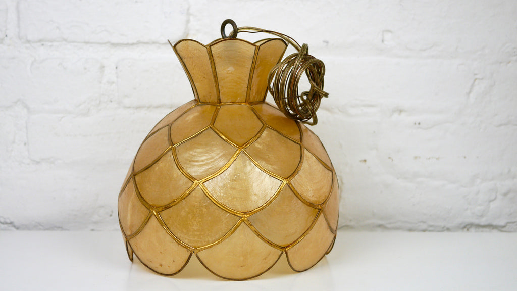 Mid Century Underwriters Laboratories Capiz Shell pendant lamp