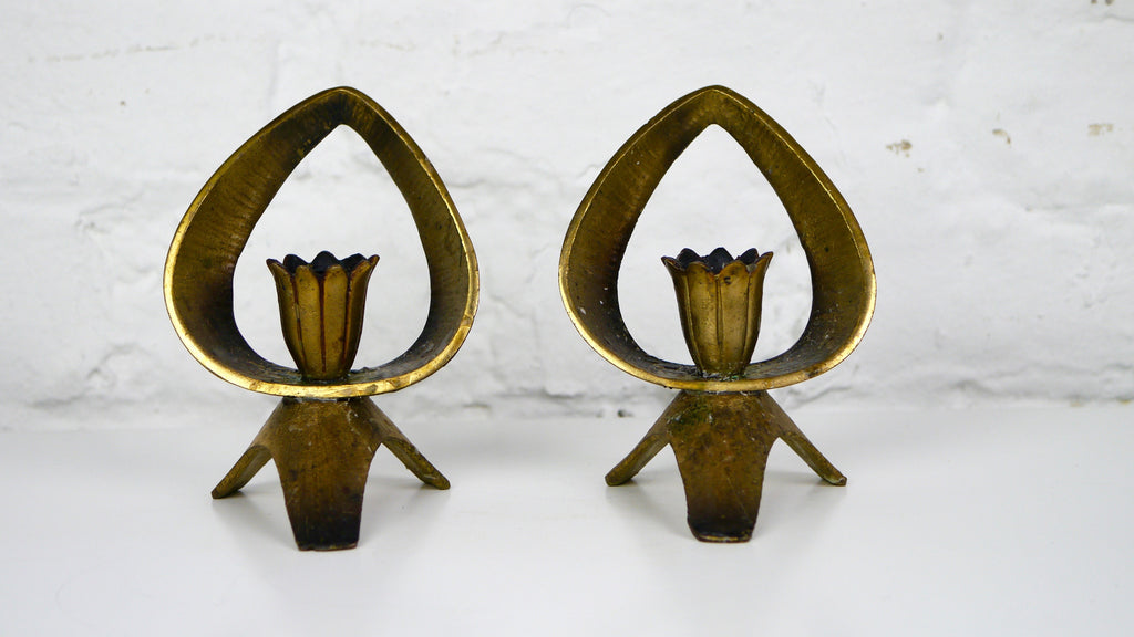 Mid Century Abada Brass Candle Holder Pair Israel Mid Century Flower