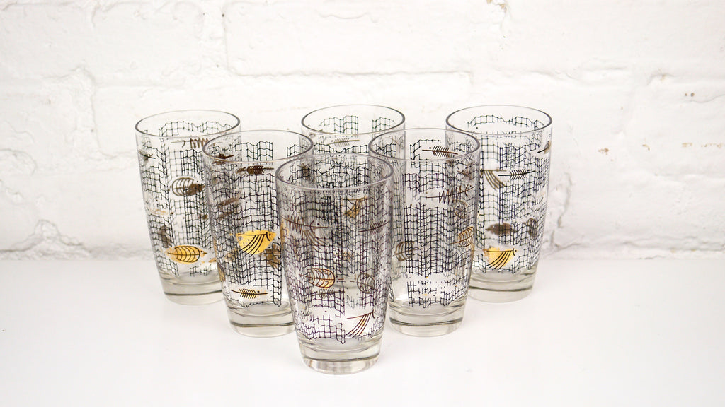 Vintage Mid Century Glassware - Atomic Fish Net Highball Glasses Set of 6 in Black and Gold