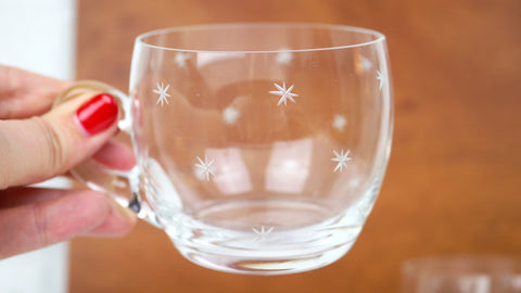 Vintage Mid Century Etched Star Mugs Cups Set of 5