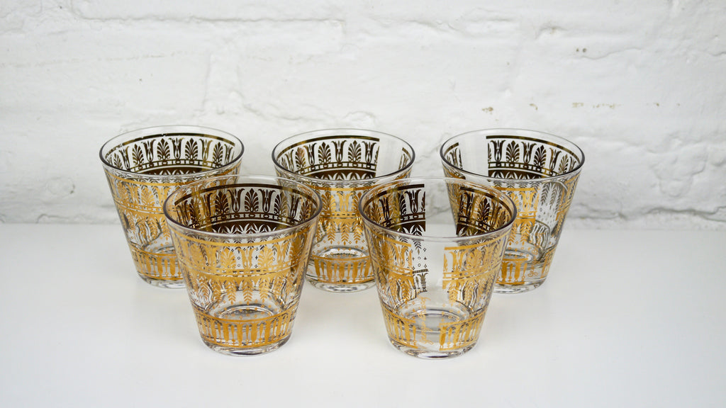 Vintage Mid Century Glassware - Georges Briard Lowball Rocks Glasses Set of 5 Gold Persian Garden
