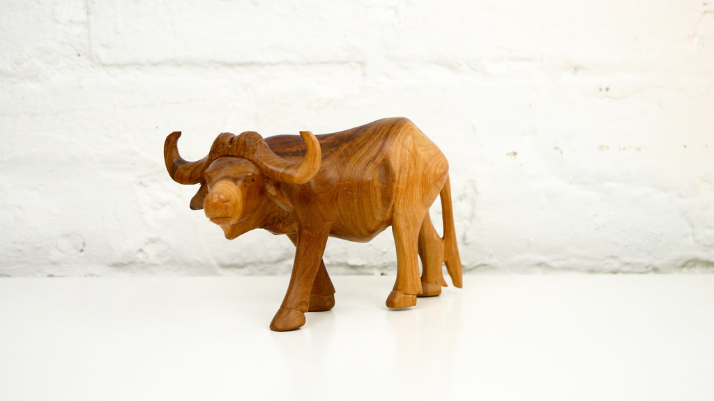 Mid Century African Wood Ox or Water Buffalo
