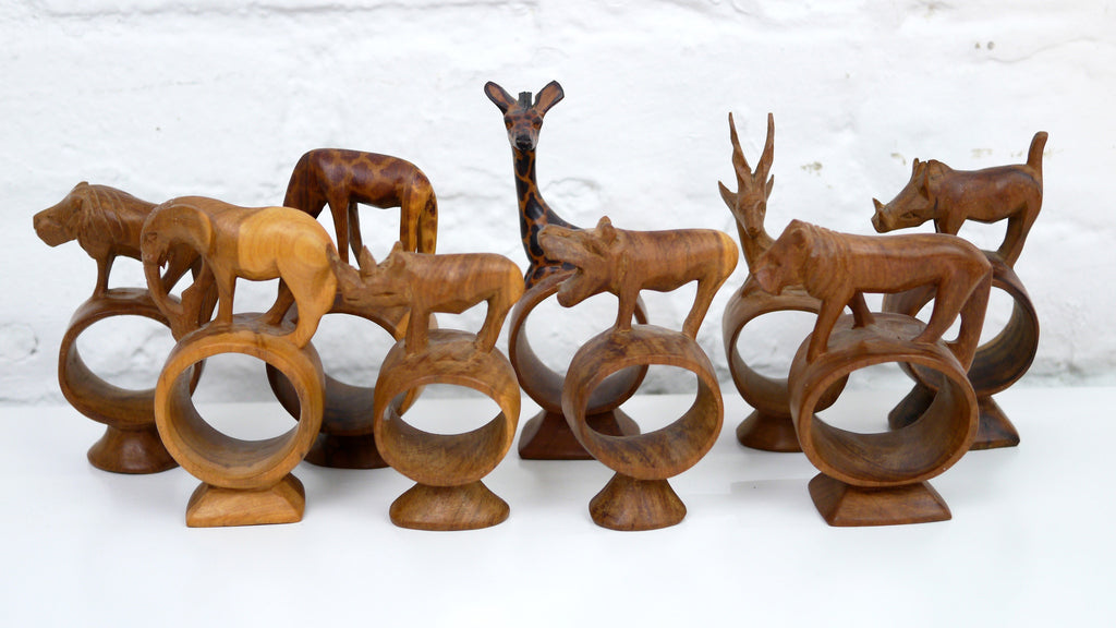 Mid Century African Wood Animal Napkin Rings set of 9