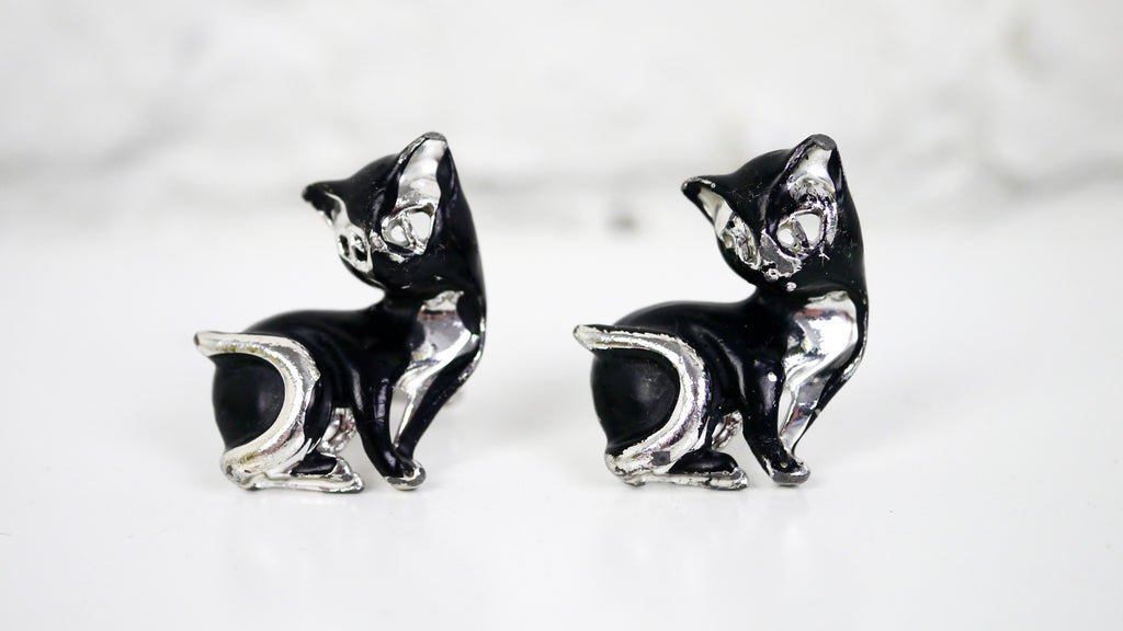 Vintage Mid Century Cat Cuff Links Black and Silver