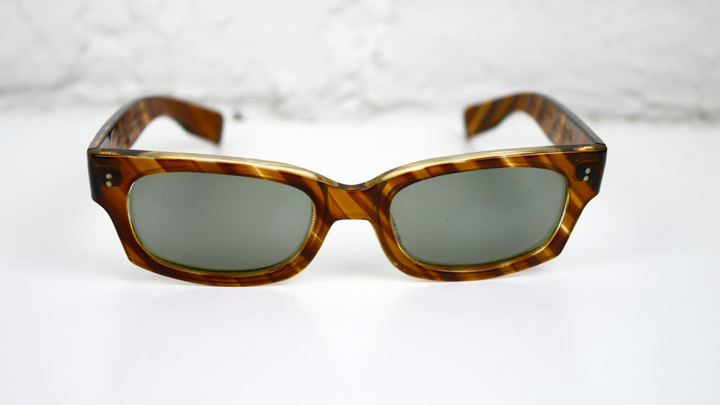 Vintage Polaroid Cool Ray Sunglasses Styled by Cari Michelle Striped Tortoise Shell 1950s