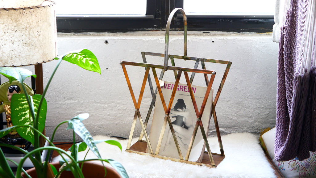 Vintage Mid Century Magazine Rack or Records Holder Brass Faux Wood