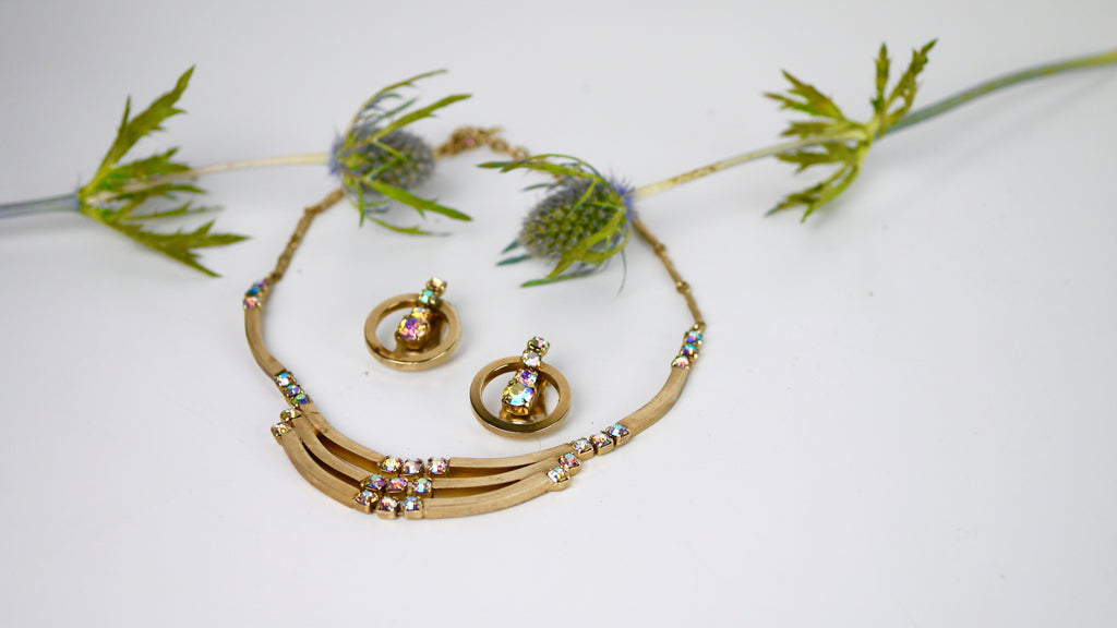 Vintage Mid Century Jewelry Set - Gold Tone Geometric Necklace + Earrings with AB Blue Aurora Borealis Rhinestones