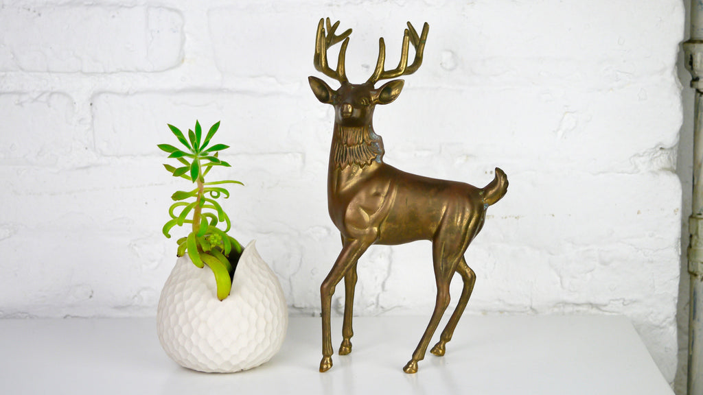 Vintage Large Brass Deer Buck Silvestri