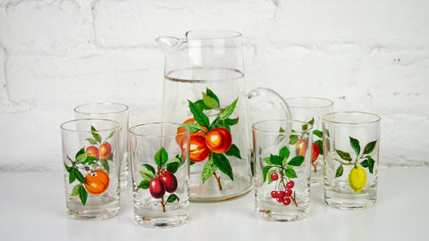 Vintage Mid Century Glassware - Virginia Glass Gold Rimmed Fruit Motif Pitcher and Juice Glasses - Set of 6