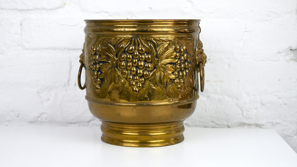 Vintage Brass Planter Grapes Lions Made in England