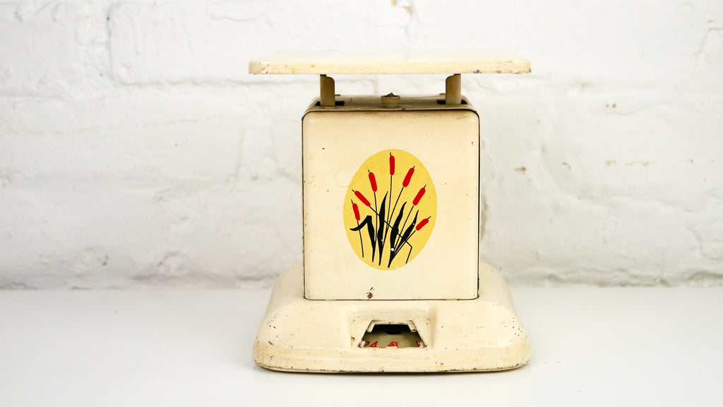 Vintage Metal Kitchen Cattails Scale cream white red yellow Maid of Honor