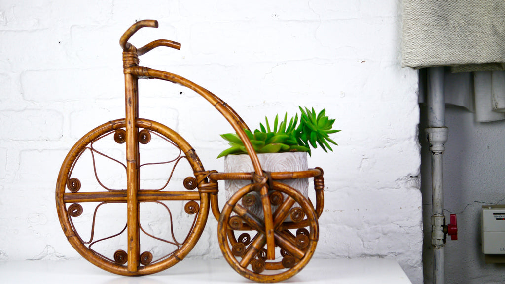 Vintage Rattan Bicycle Large Planter