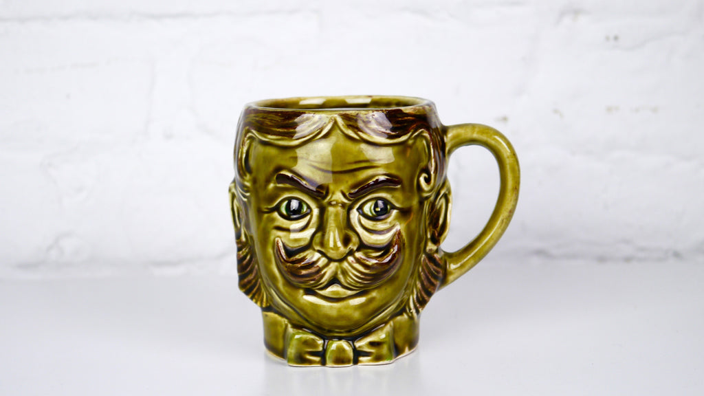 Vintage Moustache guard Toby mug made in Japan Green