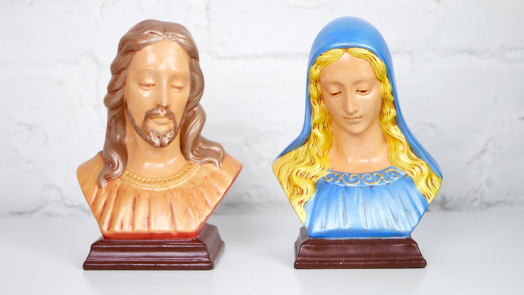Vintage Jesus and Mary Bust by Holland Mold
