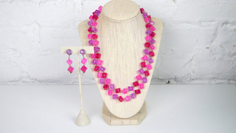 Vintage Mid Century Jewelry Set - Hong Kong Plastic Beaded Demi Parure Necklace clip on earring set in Pink and Purple