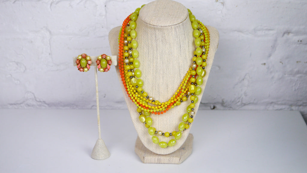 Retro Plastic Beaded Multi Strand Necklace clip on earring set green moonglow orange enamel
