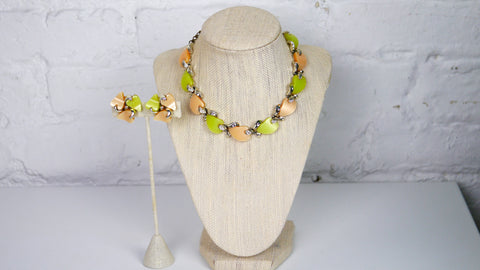 Vintage Mid Century Jewelry Set - Claudette Thermoset Necklace and Clip on Earrings in Moonglow Green and Peach Orange