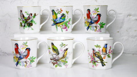 Vintage Colorful Bird Mugs Set of 6 Made in Japan gold rim
