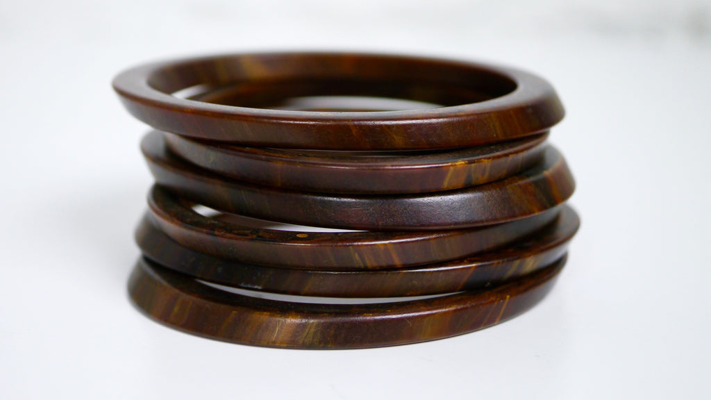 Bakelite Bangle Bracelet Stack Marbled Brown Oblong Asymmetrical spacers slice set of 6