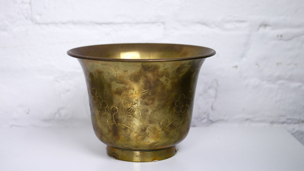 Vintage Brass Planter Flower Pot with Etched Flowers and Birds