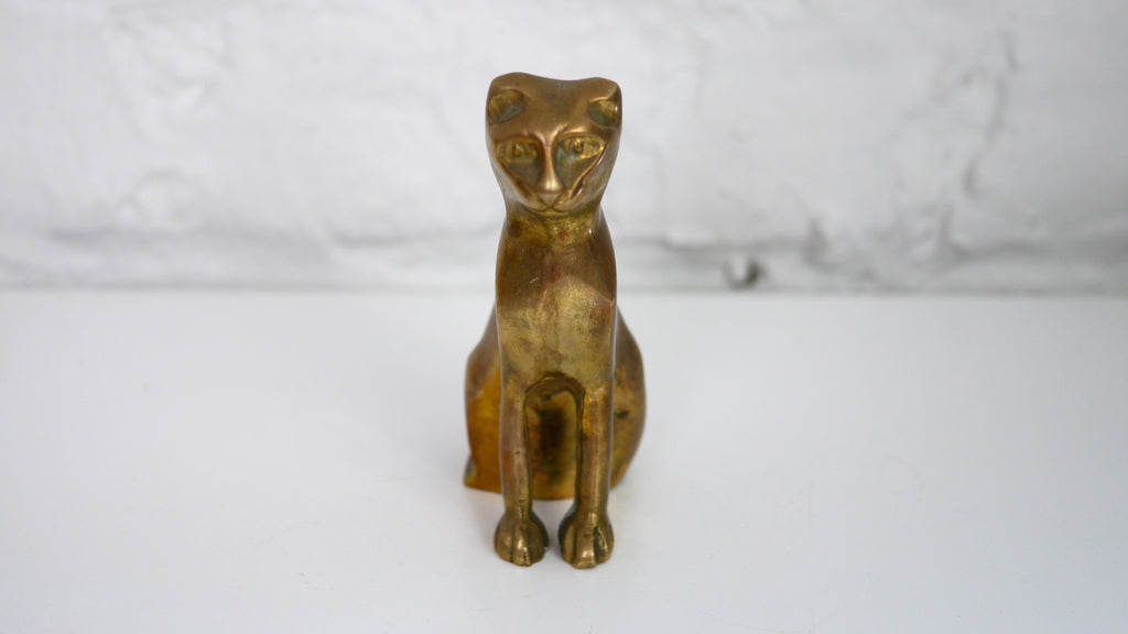 Vintage Small Brass Cat