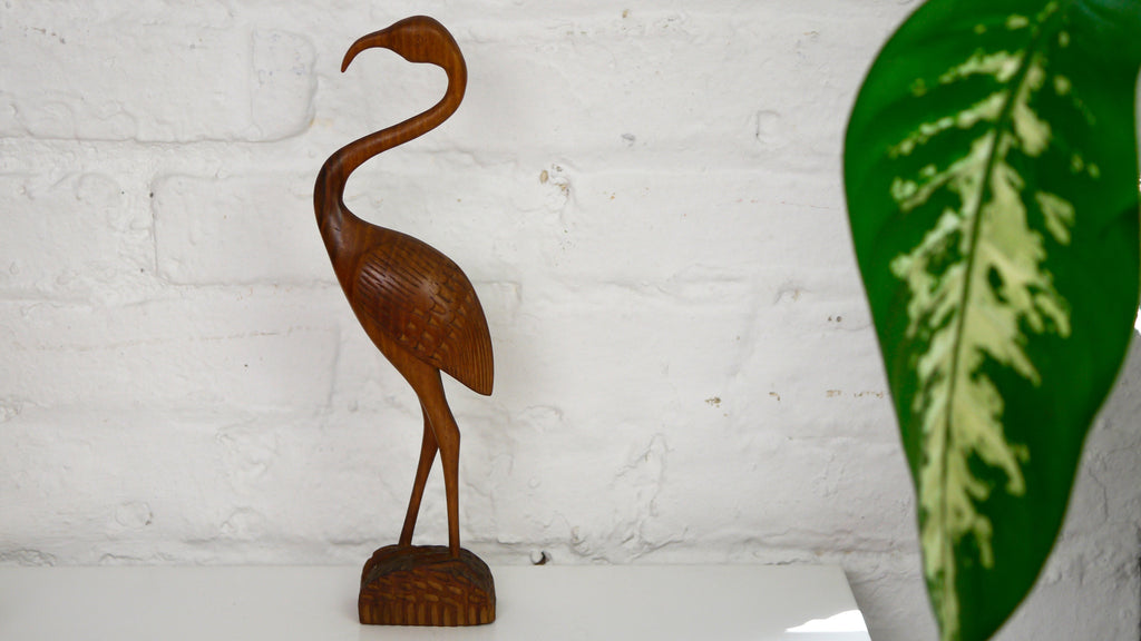 Vintage Mid Century Carved Wooden Flamingo