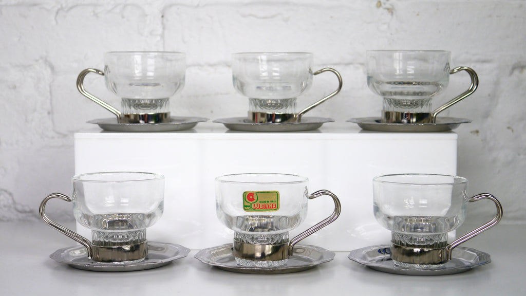 Vintage Lubiana Espresso cups mug and saucers set of 6