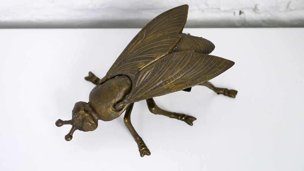 Vintage Brass Fly Ashtray Trinket Box