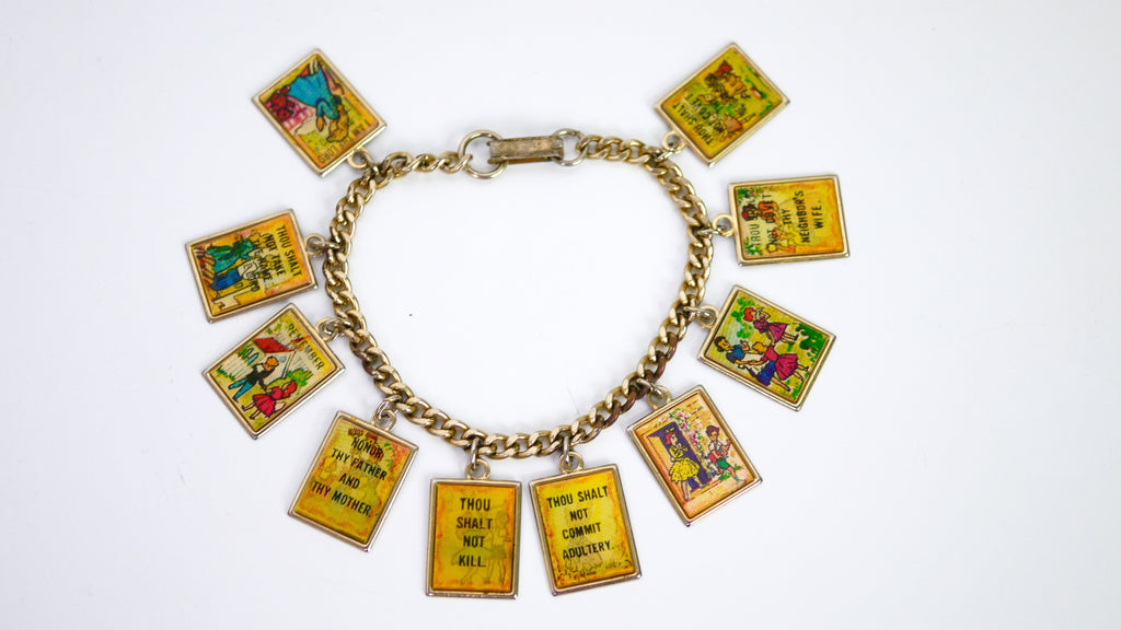 Vintage Ten 10 Commandments Holograph Hologram Charm Bracelet 1950s