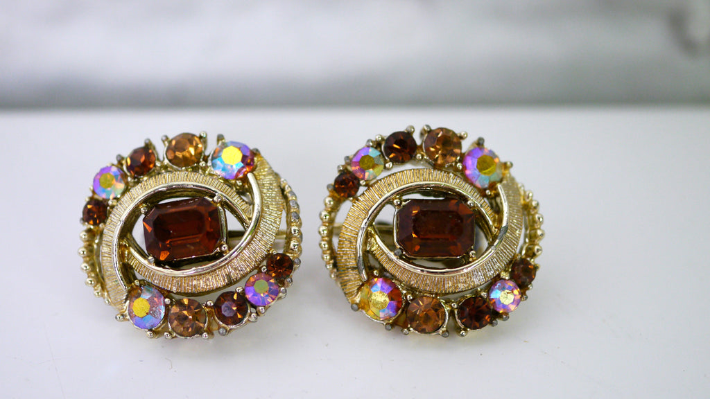 Vintage 1950s Coro Clip On Earrings Amber AB Rhinestones Aurora Borealis Iridescent