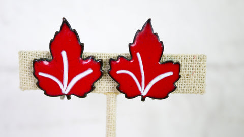 Vintage Red Maple Leaf Screw Back Earrings Enamel