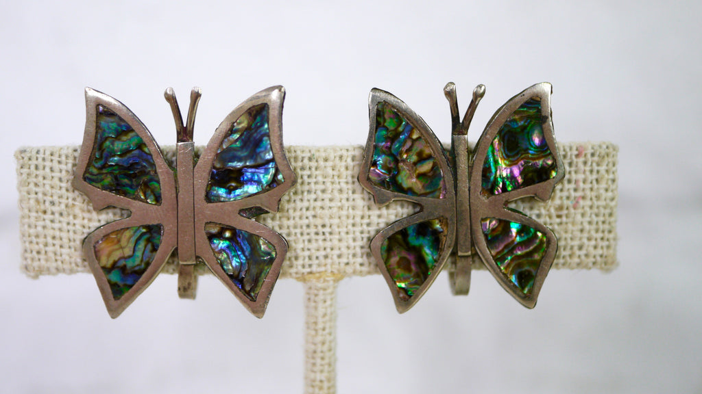 Vintage Mid Century Earrings - Butterfly Abalone Screw Back Earrings in Sterling Silver by Alpaca
