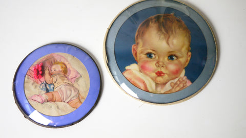 Vintage 1930s Pair of Convex Bubble Glass Baby Babies Wall Art