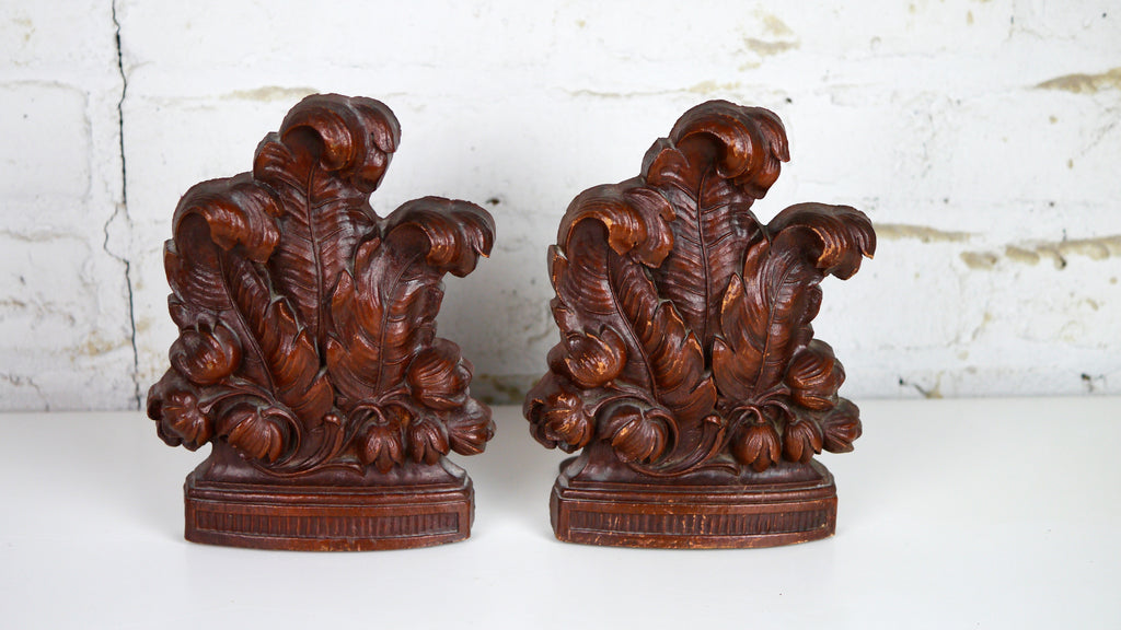 Vintage Wooden Bookends Feathers Flowers Leaves