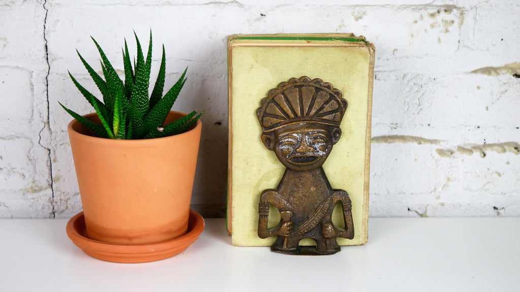 Vintage Brass Tiki Tribal Look Bookend