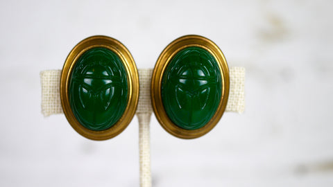 Vintage Scarab Clip on Earrings Green Large