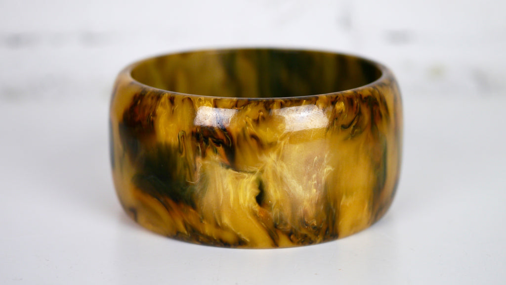 Bakelite Bangle Bracelet Wide End of Day Mississippi Mud Yellow Brown Marbled