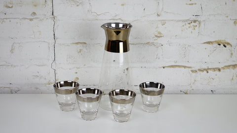 Vintage Mid Century Glassware - Dorothy Thorpe Style Silver Rimmed Carafe Pitcher with Set of 4 Shot Glasses
