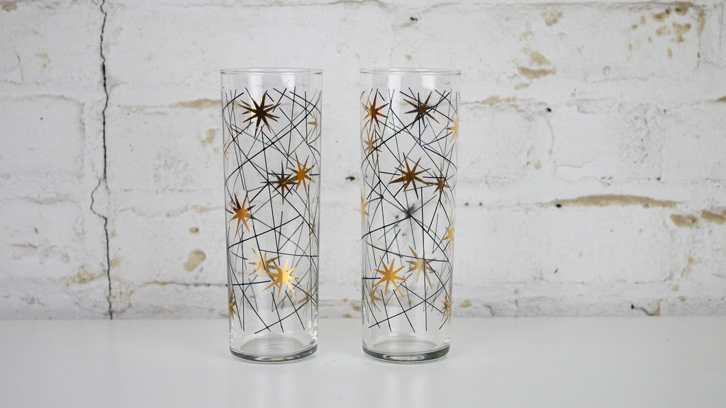Vintage Mid Century Glassware - Libbey Atomic Star Tumbler Glasses in Metallic Gold and Black - Pair