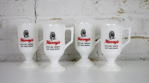 Vintage Harveys Wagon Wheel Tahoe Pedestal Milk Glass Mug set of 4