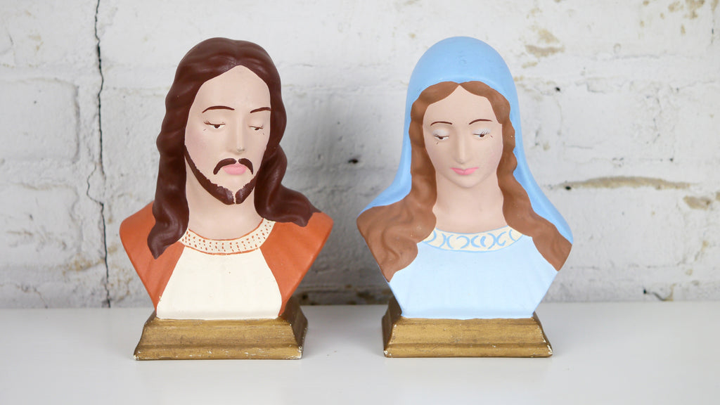 Vintage Mid Century Jesus and Mary Ceramic Bust Pair