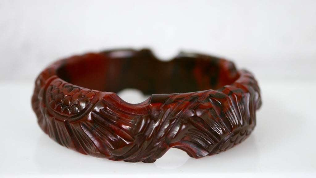 Bakelite Bangle Bracelet Deeply Carved Dark Red Black Marbled Flower