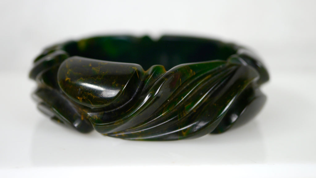 Bakelite Bangle Bracelet Deeply Carved Green Marbled X Small