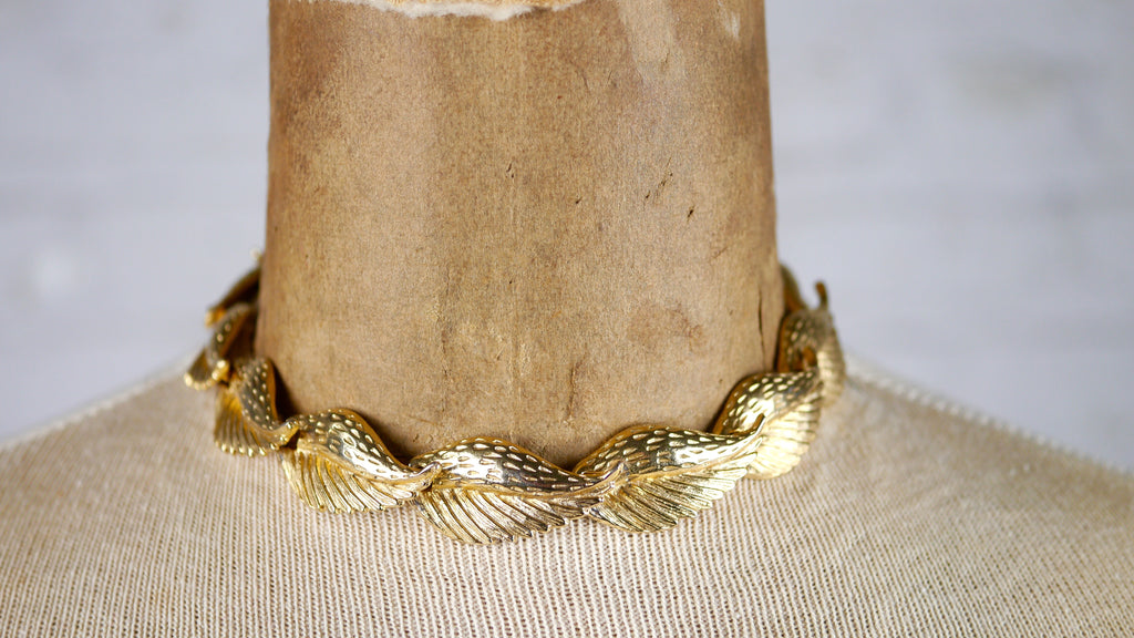 Vintage Leaf Necklace Choker 1950s gold tone metal