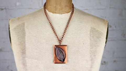 Vintage 1940s Modernist Copper Leaf Pendant Necklace