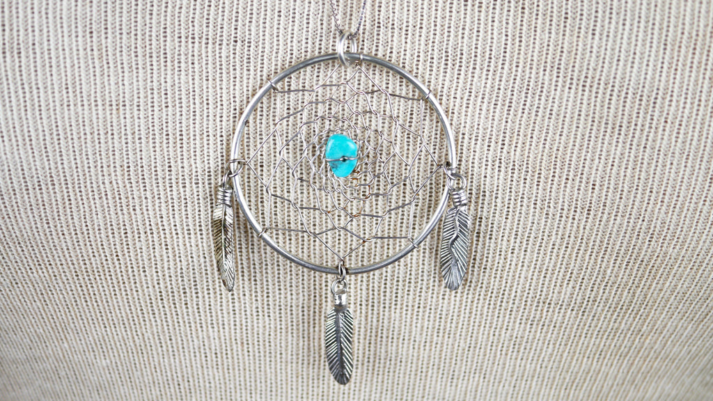Vintage Dream Catcher Necklace Sterling Silver Turquoise