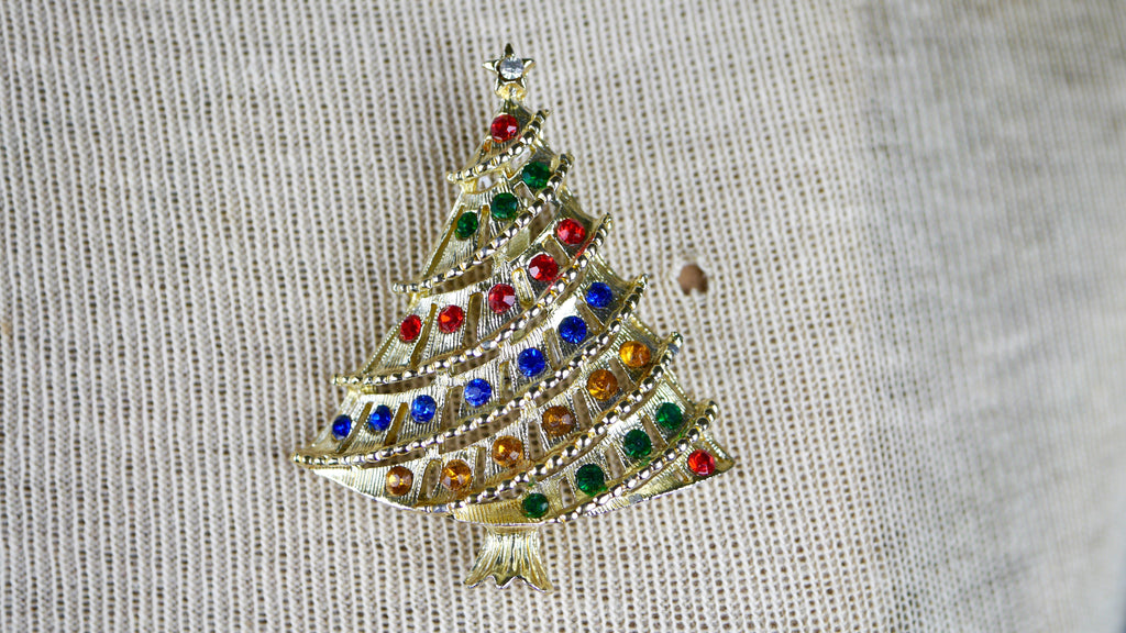 Vintage Christmas Tree Brooch Rainbow Multi Color red green blue yellow