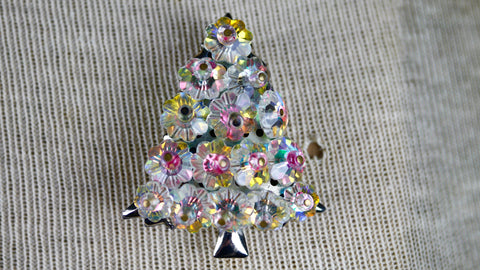 Vintage Mid Century Clear Iridescent Flower Rivoli Bead Christmas Tree Brooch