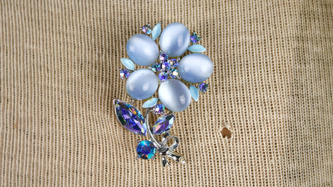 Vintage Mid Century Brooch - Lisner Flower Brooch in Iridescent Moonglow Baby Blue AB Rhinestones